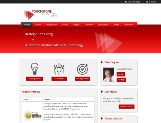 Touchstone Consulting Limited website - By E-Success, Ipswich
