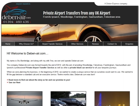 Deben-air.com website - By E-Success, Ipswich