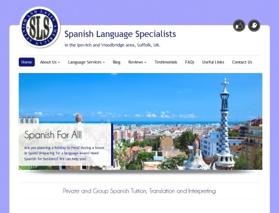 Spanish Language Specialists website - By E-Success, Ipswich