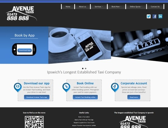 Avenue Taxis website - By E-Success, Ipswich