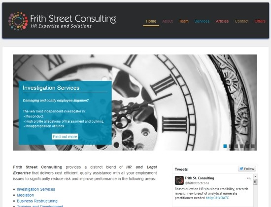 Frith Street Consulting website - By E-Success, Ipswich