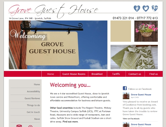 Grove Guest House website - Design, hosting and maintenance By E-Success, Ipswich