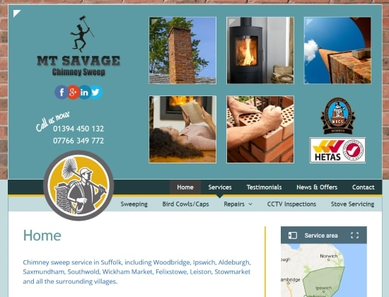 MT Savage Chimney Sweep website - By E-Success, Ipswich